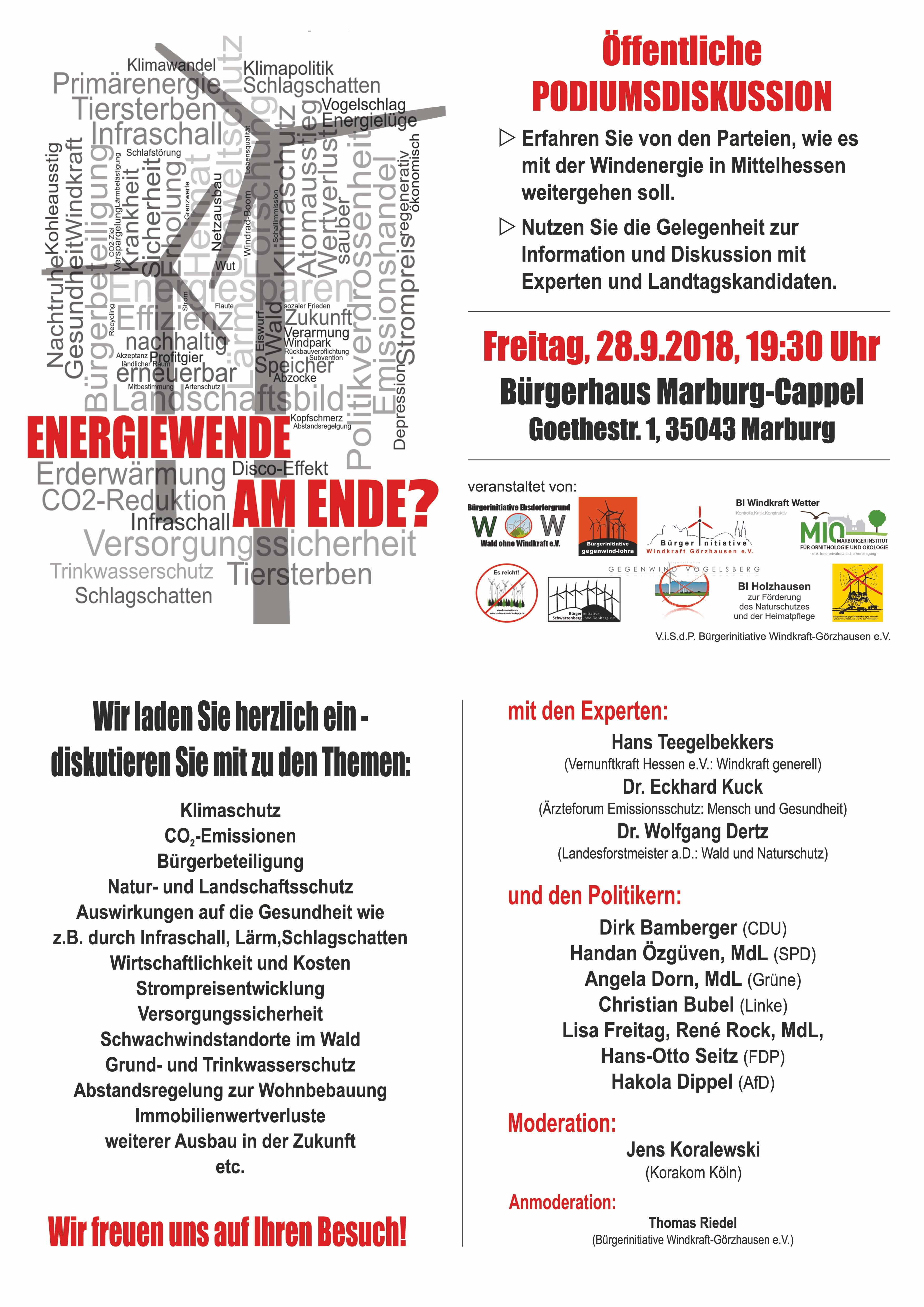 Einladung Podiumsdiskussion 28.09.2018